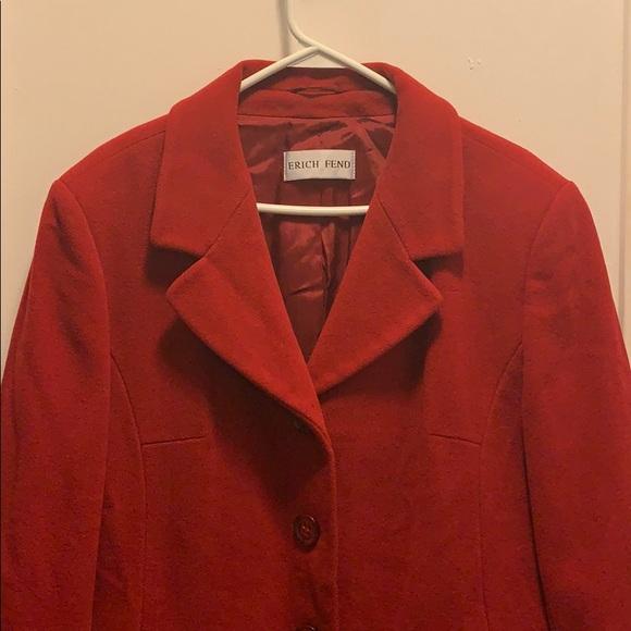 Red Erich Fend Lana/polyamid/cashmere blend coat